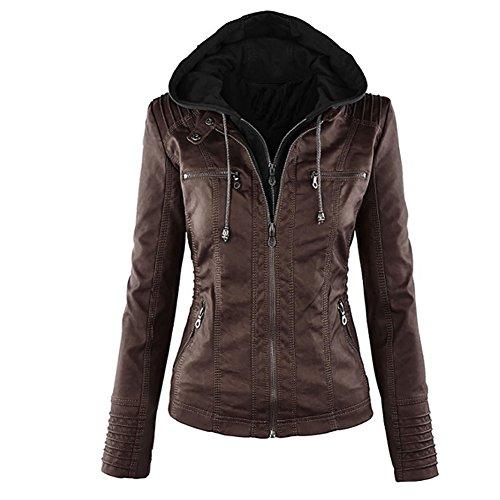 Pop lover Women's Hooded Faux Leather Motorcyle Jacket Detachable Full Zipper Outerwear Dark Brown 3XL