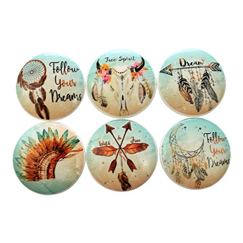 Set of 6 Free Spirit Bohemian Wood Cabinet Knobs (Cabinet Spirit The)