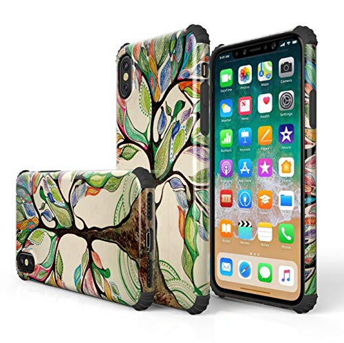 KITATA iPhone Xs Max Case Shockproof [Bumper Corner], Love Life Tree Watercolor Leaves Art Print Design, [Impact Resistant] Slim Fit Drop Protection Protective TPU Silicone Cell Phone Cover
