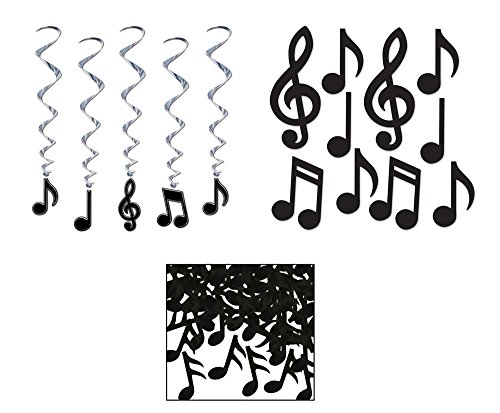 10 Music Note Cutouts 5 Music Note Whirls Musical Note Confetti Bundle]()