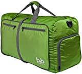 BB Medium Gym Duffle Bag with Pockets - Foldable Lightweight Travel Bag (Dark Green)