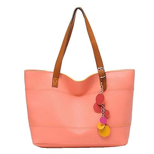 BYD - Mujeres Carteras de mano Color puro Alta calidad PU cuero Mutil Function Fashion School