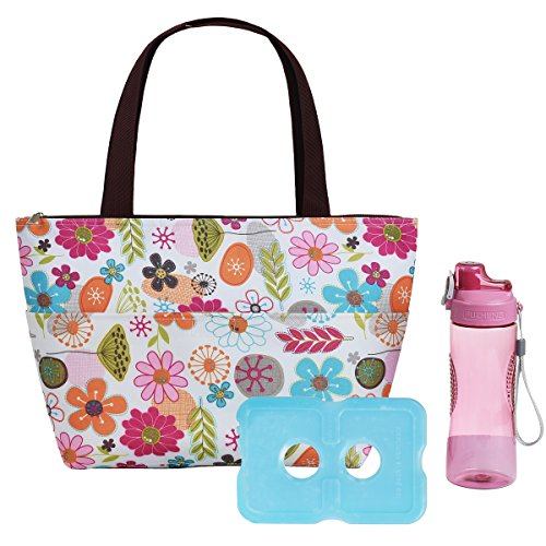 ayar Lunch Box with Ice Pack and 20 oz Matching Water Bottle,Full Zipper Closure Insulated Lunch Bag for Adults Flora Lunch Tote Ice Pack Bag Insulated Fashion Lunch Bag for Women ()