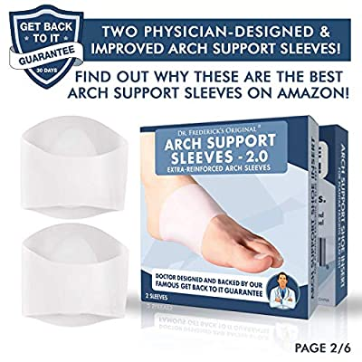 Dr. Frederick's Original Arch Support Sleeves 2.0 - Reinforced Silicone Gel Reusable Sleeves - Doctor Developed for 2019