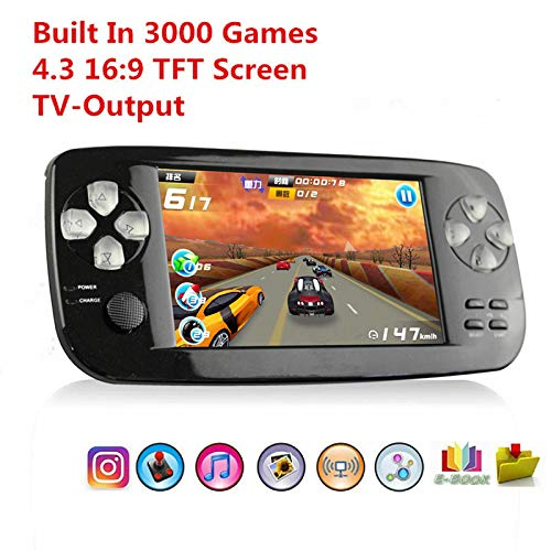 BAORUITENG Handheld Game Console, Portable Video Game Console 4.3 Inch 3000 Classic Retro Game Console Pap-KIII , Support GBA / GBC / GB / SEGA / NES / SFC / NEOGEO, (Black) (Best Games Console For 7 Year Old 2019)
