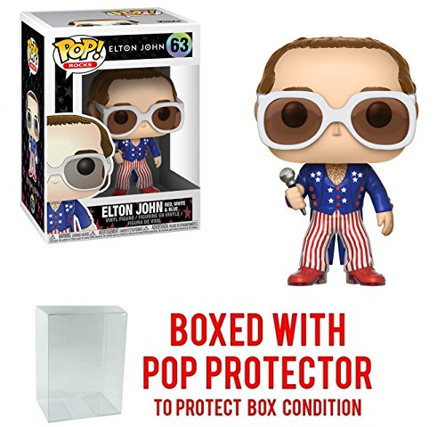 Funko Pop Rocks: Elton John - Red, White, and Blue Vinyl Collectible Figure + Pop Protector