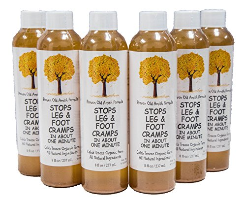 Caleb Treeze Old Amish Formula- Stops Leg and Foot Cramps Fast- Works For All Cramps-Prevent and Stop Cramps- Works Instantly- All Natural Ingredients- 8 FL Oz- 6 Pack