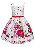 Girls Floral Print Sleeveless Princess Party Wedding Dresses with Red Belt
