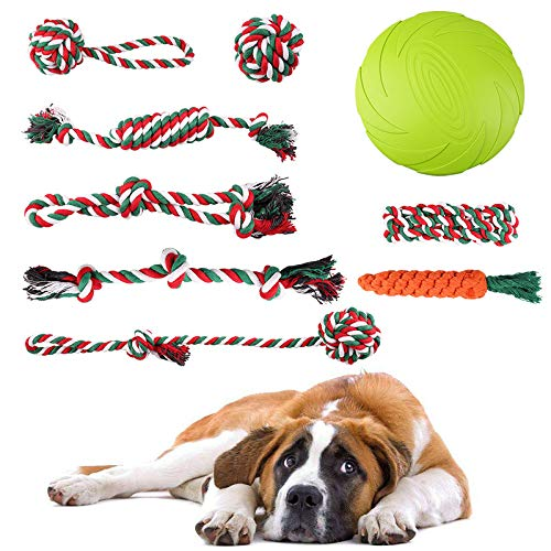 PrimePets 10 PCS Dog Rope Toy for Aggressive Chewers, Dog Chew Toys for Medium Large Dogs, XL Rope Dog Toy with Dog Flying Disc for Chewing, Tug of War and Teething with Bonus Cotton Carrot Toys