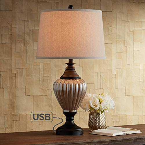 - Howard Traditional Table Lamp with USB Charging Port Glass and Black Oatmeal Drum Shade for Living Room Family Bedroom - Regency Hill
