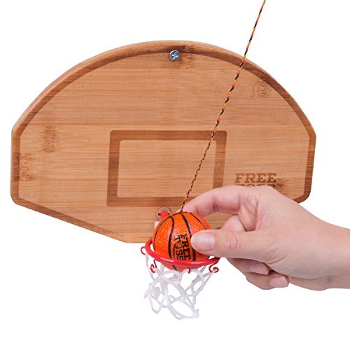 (Tiki Toss Basketball and Hoop Swing Game Free Toss- Be The First to Swing A Basket 100% Bamboo Party Game (All Parts)