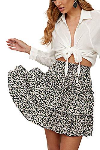 Alelly Women's Summer Cute High Waist Ruffle Skirt Floral Print Swing Beach Mini Skirt Navy