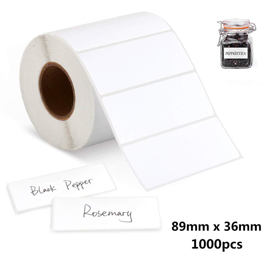 1000 Pezzi Etichette Adesive Bianche 89 36mm Etichette Autoadesive Bianche su Rotolo Etichette Impermeabili Adesive Rimovibili Contrassegni