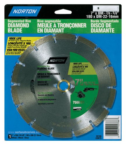 Norton 2786 7-Inch Segmented Diamond Saw Blade with 7/8-Inch Arbor and 5/8-Inch Insert for (Norton Tile Saw)