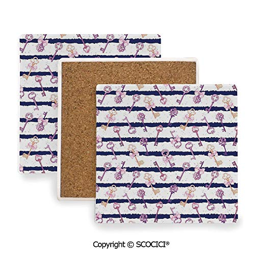 (Ceramic Coasters with Cork Base, Prevent Furniture from Dirty and Scratched, Suitable for Kinds of Mugs and Cups,Cute Girls,Old Medieval Vintage Keys with Ribbons and,3.9