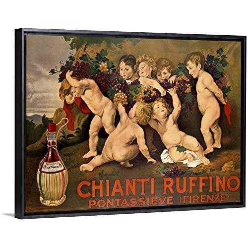 (Chianti Ruffino, Vintage Poster, by Leopoldo Metlicovitz Black Floating Frame Canvas Art, 18