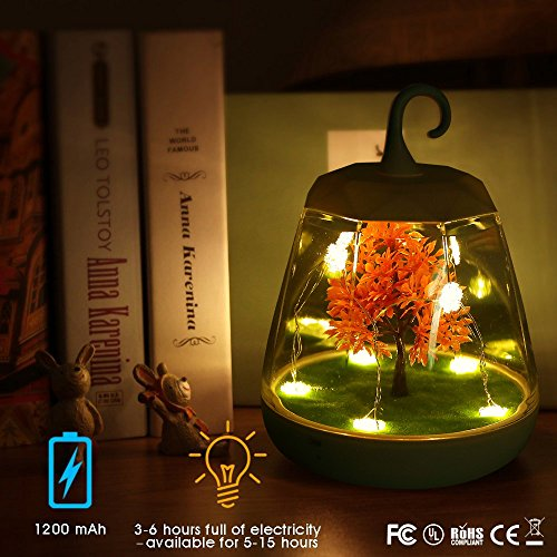 INVENBER Night Light Voice Control Special Christmas Festival Party Gift LED Chargeable Sensor light Dimmable Table Lamp with Aritficial Plants Design (Night Light with Maple Leaves) (Leaf Night Maple Light)