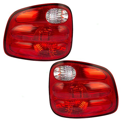 Driver and Passenger Taillights Tail Lamps with Red Lens Replacement for Ford Pickup Truck YL3Z13405AA (03 F150 Flareside Tail Lights)