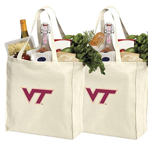 Reusable Virginia Tech Hokies Shopping Bags or Virginia Tech Grocery Bag 2Pc SET NATURAL - Vt Shopping Bag