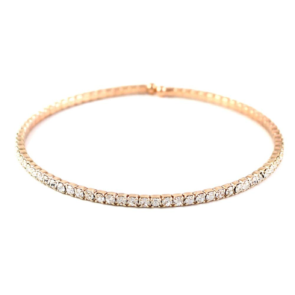 Fine Jewelry for Women Girls Gift Boxed BellaMira Lifestyle Accessories Shanti by MIRA Rose Gold Plated Chakra Feather Motif Eternity Bangle Bracelet