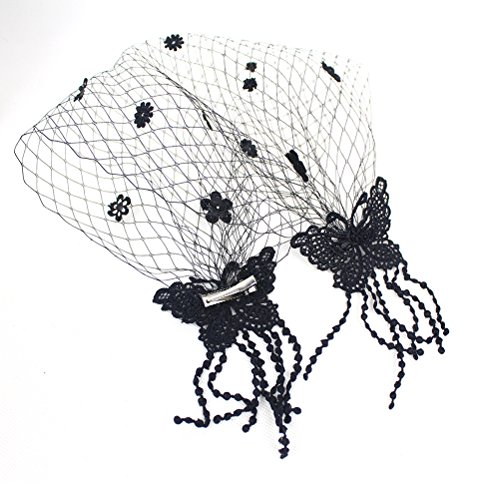 Zhide Women Fashion Black Fascinator Hair Clip with Veil (Understanding Hair Color)