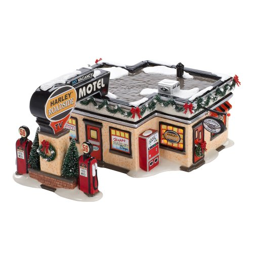 Department 56 Original Snow Village Harley Roadside Motel Lit House, 4.33-Inch Dept 56 Harley Davidson