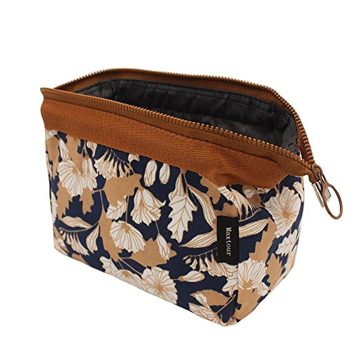 Makeup Bag/Travel Cute Cosmetic Pouch Storage/Brush Holder Toiletry Kit Fashion Women and Girl Waterproof Jewelry Organizer with Zipper Carry Case Portable Cube Purse (Brown Flowers)
