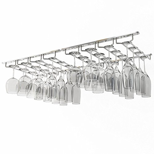 (Wallniture Under Cabinet Stemware Rack - Wine Glass Storage Holder 17 Inch Set of 2 (Chrome))