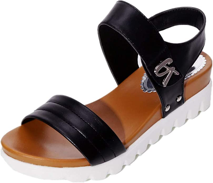haoricu Womens Comfy Sandals Shoes Ladies Platform Sandals High Heels Wedge Ankle Strap Buckle Faux Leather Sandals