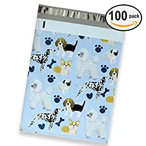 100 Pack of Mighty Gadget (R) Hand Painted Dogs Designer Poly Mailers by Morgan Lui - 10x13 inch Shipping Envelopes with 2.35 mil Thickness