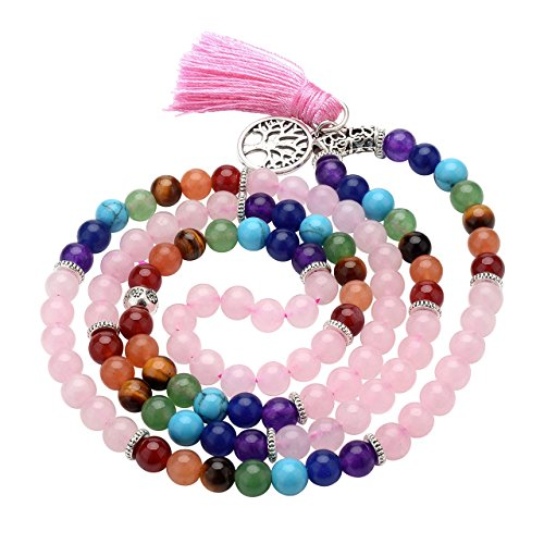 Top Plaza 7 Chakra Buddha Mala Prayer Beads 108 Meditation Healing Multilayer Bracelet/Necklace W/Tree of Life Tassel Charm (Rose Quartz)