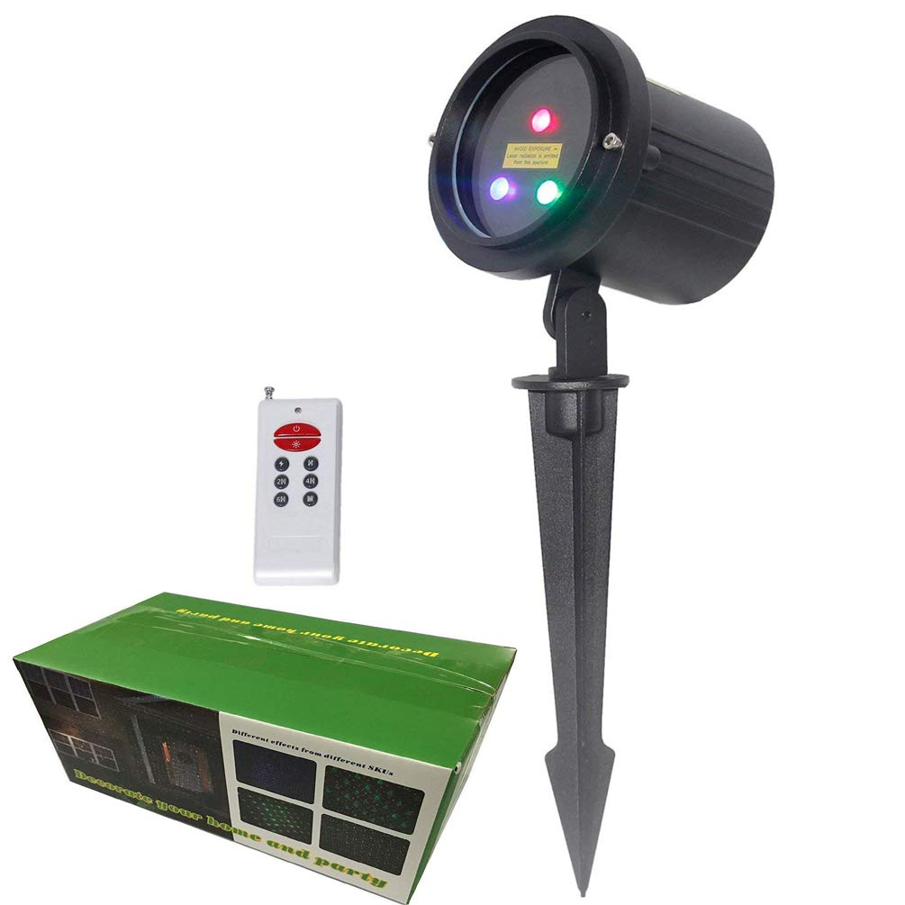 Christmas Laser Lights Outdoor RGB Moving Stars Garden Laser Light Projector LSIKA-Z Aluminum Waterproof Motion Laser Christmas Lights Outdoor Projector with RF Remote