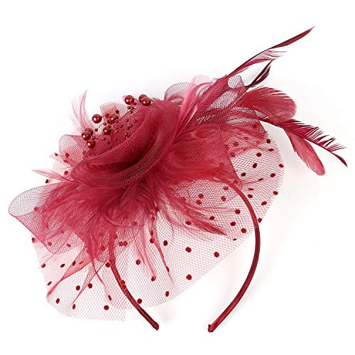 OGU' DEAL Women's Flower Fascinator Feather Mesh Net Veil Tea Party Derby Hat Removable Clip -