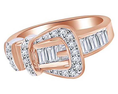 (Jewel Zone US Mothers Day Jewelry Gifts White Cubic Zirconia Belt Buckle Fashion Ring in 14k Rose Gold Over Sterling Silver)