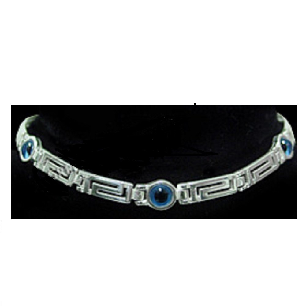 Greek Sterling Silver Mati Collection - Bracelet w/Greek Key and 3 Mati Evil Eye