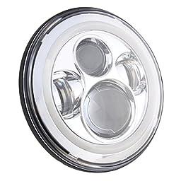 SUNPIE White Jeep Wrangler LED Headlights Bulb with Halo Angel Eye Ring & DRL & Turn Signal Lights for Jeep JK LJ CJ Hummer H1 H2 7\