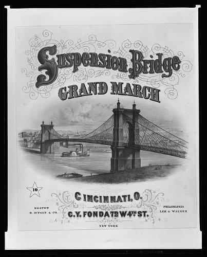 Photo: c1867 Suspension Bridge,Ohio River,Covington,Cincinnati