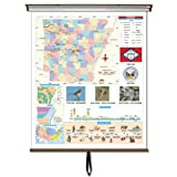 Universal Maps Advanced Physical Classroom Map on Roller with Brackets, Asia