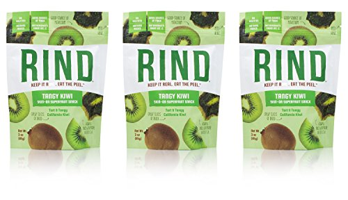 (RIND Snacks Tangy Kiwi Peel-Powered Dried Superfruit, No Sulfites, No Added Sugar, High Fiber, Antioxidant-Rich, Non-GMO, Gluten-Free, Vegan, 3oz, Pack of 3)