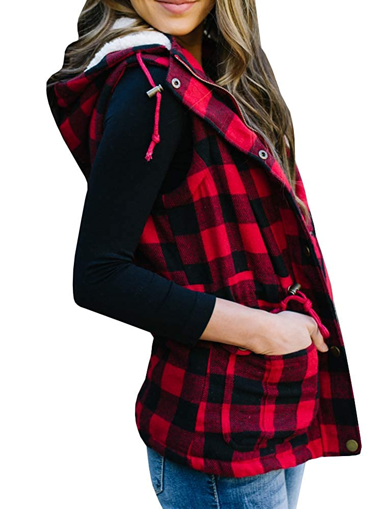 Imily Bela Womens Buffalo Hooded Plaid Corduroy Vest Flannel Winter Casual Coat Cardigan