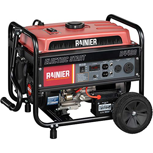 Rainier R4400 Portable Generator with Electric Start - 4400 Peak Watts & 3600 Rated Watts - Gas Powered - CARB Compliant (Portable Generator Electric Start)