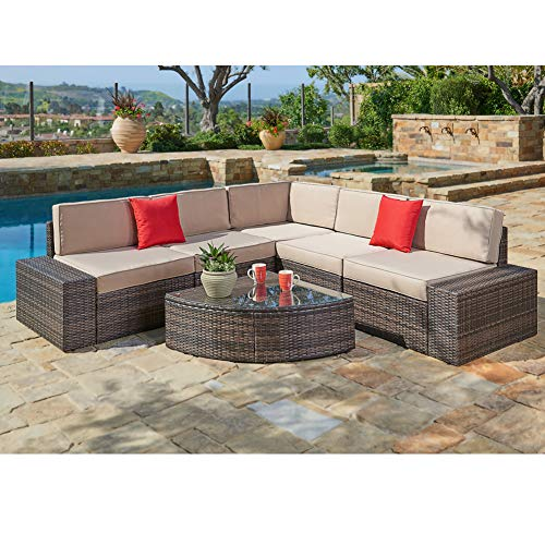 SUNCROWN Outdoor Sectional Sofa & Wedge Table (6-Piece Set) All-Weather Brown Wicker Furniture with Washable Seat Cushions & Modern Glass Coffee Table | Patio, Backyard, Pool | Incl. Waterproof Cover