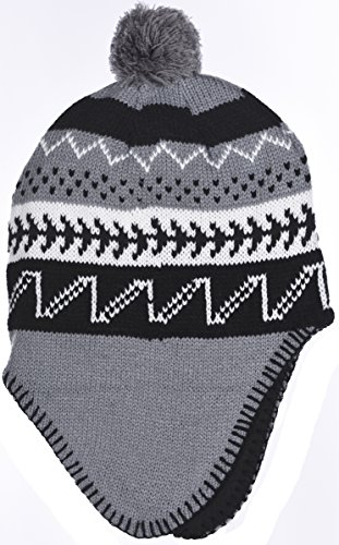Polar Wear Boys Micro-Fleece Lined Knit Hat with Ear Flaps & Pom Top in 3 Colors (Gray Black) -
