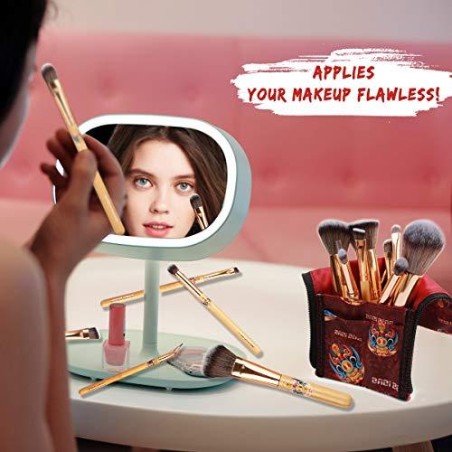 BABI BEAR 12 PCs Makeup Brushes Set Premium Synthetic Kabuki Foundation Brush Professional Bamboo Handle Makeup Brush with Makeup Bag (Rose Gold)