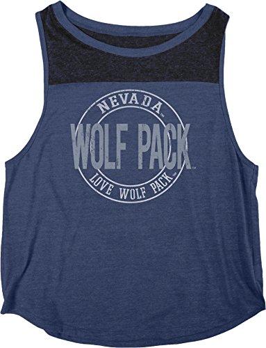 NCAA Nevada Wolfpack Women's Heritage Tri-Blend Yoke Tank Shirt, Small, (Tri Blend Yoke)