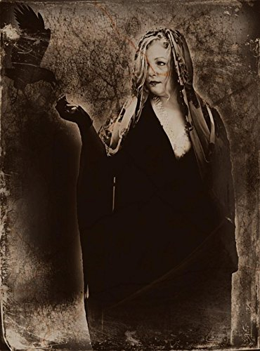 LAMINATED 24x32 POSTER: Woman Crow Female Black White Fantasy Bird Raven Person Spooky Halloween Witch Dark Costume Artistic Scary Vintage