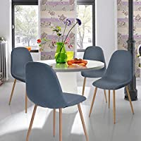 Dining Chair FurnitureR 4 Pcs Modren Eames Unique Design Fabric Dinning Seat Metal Legs Chair Set for Dining Room Home Chair Blue