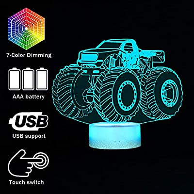 3D Lamp for Child Monster Truck Series Nightlamp Bedside LED Lamps 7 Colors Illusion for Child Night Light Lamp for Child roomed Lamps As Gift Ideas for Boys or Kids: Home Improvement