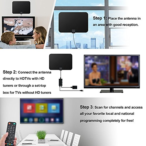 HDTV Antenna Indoor Digital 60 80 Miles Long Range TV Antenna with 2018 Newest Type Switch Console Amplifier Signal Booster High Performance 165FT Coaxial Cable Power Adapter Better Reception TV Antennas
