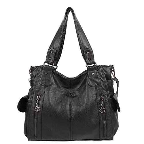Angelkiss Large Purses and Handbags With Two Multi Pocket (Washed Handbag Purse)